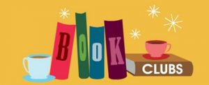 graphic for book club with books and coffee cups